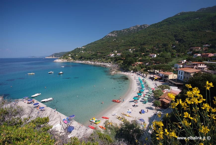 The sea and the beaches at Santandrea Island of Elba